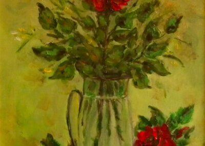 Rose rosse - olio su tela
